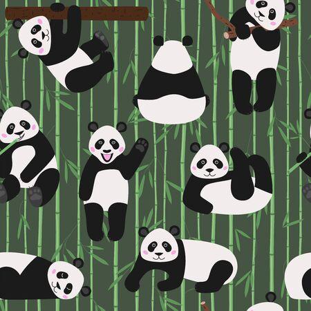 Cute panda textile print