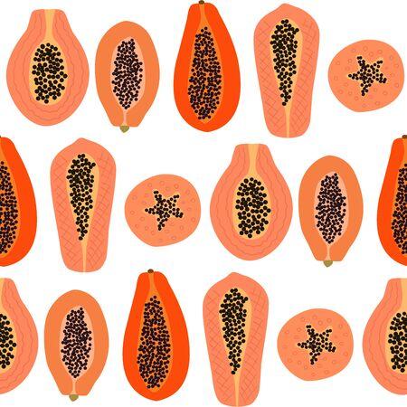 Papaya fruit seamless pattern Ilustração