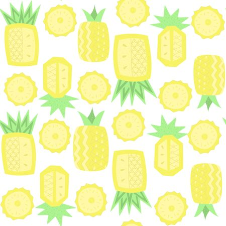 Pineapple seamless pattern, abstract fruit vector wallpaper, textile print.