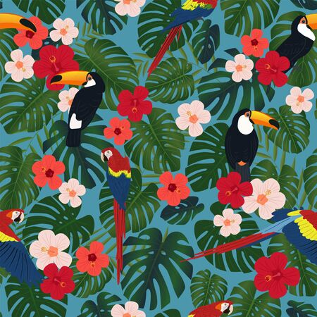 Tropical seamless pattern, exotic vector illustration. Monstera leaves and toucan birds on a black background. Fashion textile print. Ilustração