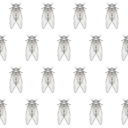 Seamless pattern with hand drawn mosquito textile pattern, vector illustration.