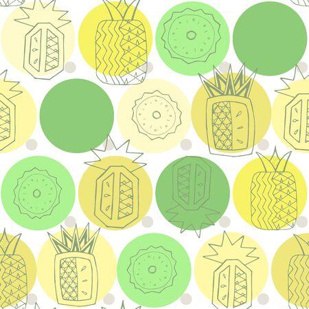Pineapple seamless pattern, textile print