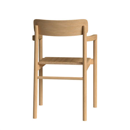 Chair with armrest isolated on white background. Post Chair By designer Cecilie Manz, 2019, Fredericia. 3D illustration. Stock Photo