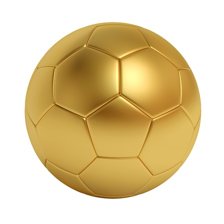 3d ball: golden soccer ball isolated on white background