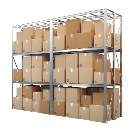 metal racks with boxes isolated on white background