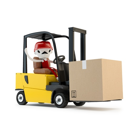 ship lift: Forklift driver with the cargo