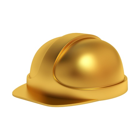 golden helmet isolated on white background Standard-Bild