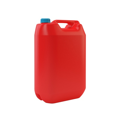 Red jerrycan isolated on white Stock Photo