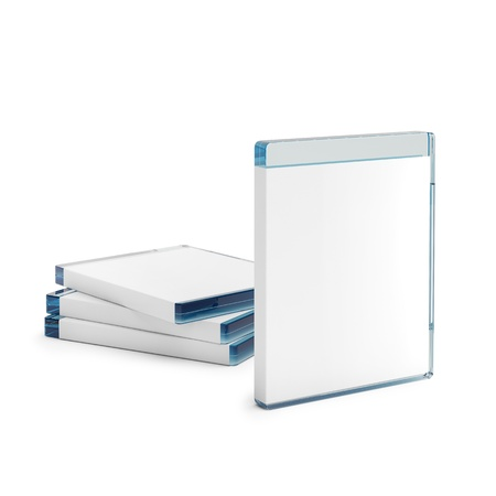 Blu ray disc boxes isolated on white background