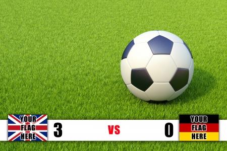 Scoreboard and soccer ball on grass field