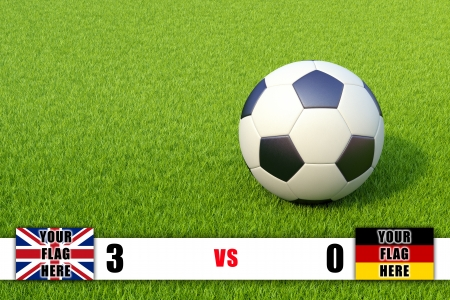 Scoreboard and soccer ball on grass field Stock Photo - 17398682