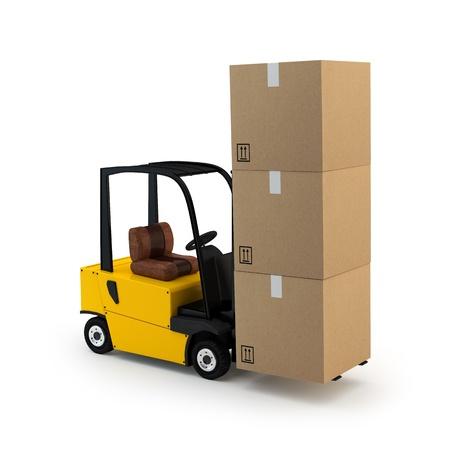 forklift truck with cargo  Standard-Bild