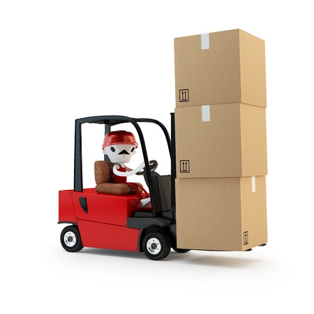 Forklift driver with cargo  photo