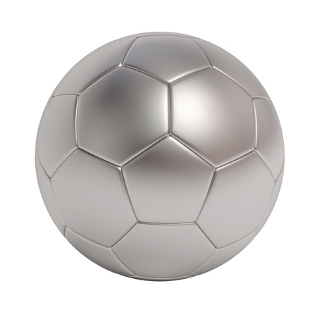 silver soccer ball isolated on white background  Standard-Bild