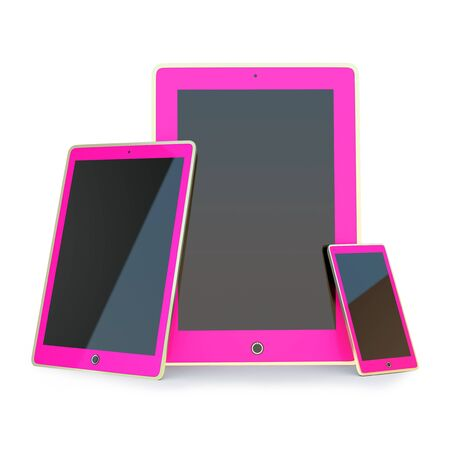 Set of pink devices