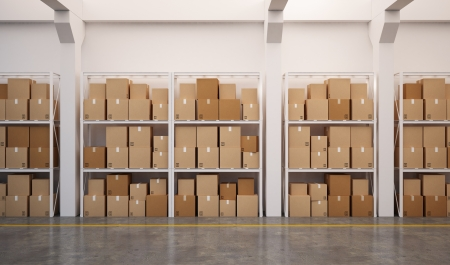 3d rendered warehouse with many stacked boxes on pallets Stock Photo - 17425181