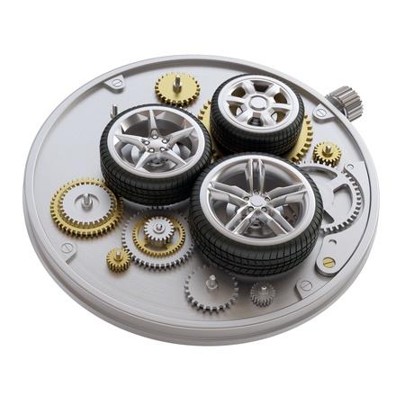 Clockwork with car wheels