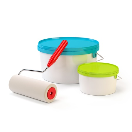 Paint roller and cans of paint
