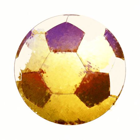 Soccer ball in Watercolor Isolated on White Background. Standard-Bild