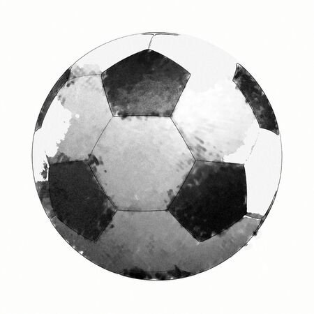 Soccer ball in Watercolor Isolated on White Background. Stock Photo