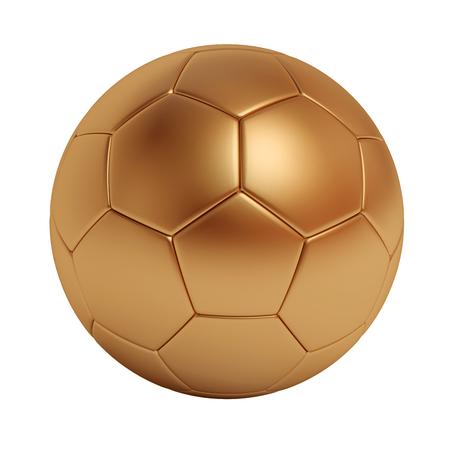 ballon foot: boule de bronze de football isolé sur fond blanc Banque d'images