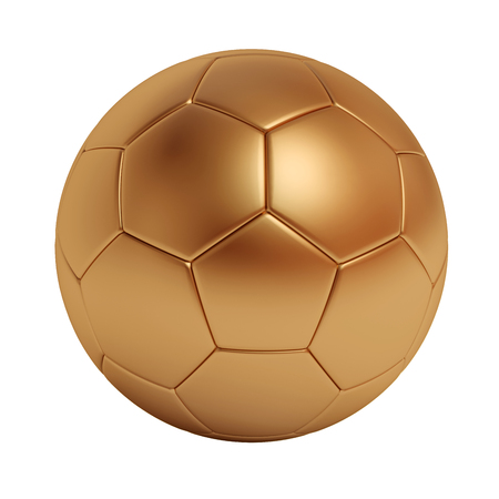 Bronze soccer ball isolated on white background