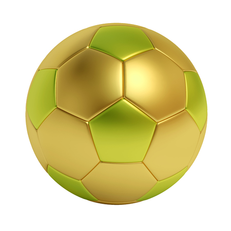 Golden and green soccer ball isolated on white background Stock Photo