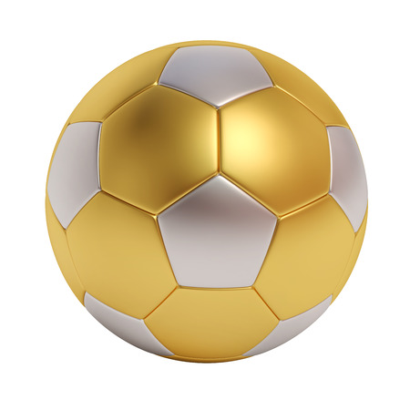 Soccer ball from different metals isolated on white background Stock Photo