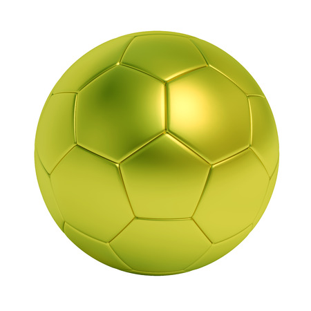 Green soccer ball isolated on white background