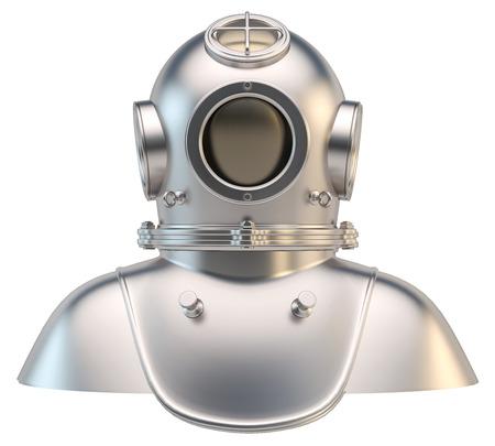 Divers helmet isolated on white background. 3d illustration.