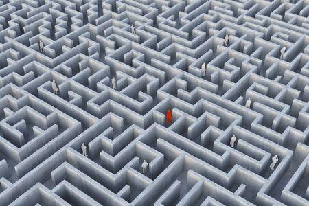 hardship: People Into The Maze. 3d Illustration. Stock Photo