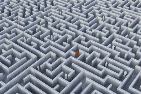 People Into The Maze. 3d Illustration. Stock Photo