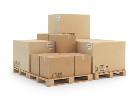 cajas de carton: Cajas de cartón en una paleta. 3d ilustración. Foto de archivo