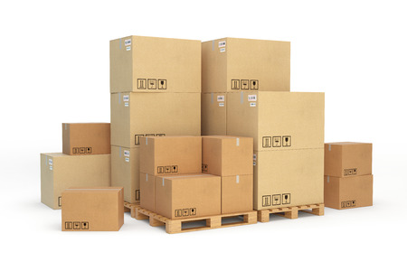 Cardboard boxes on a pallet. 3d illustration. Stock Illustration - 48631668