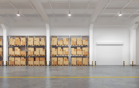 Warehouse with many racks and boxes. 3d Illustration. Banque d'images