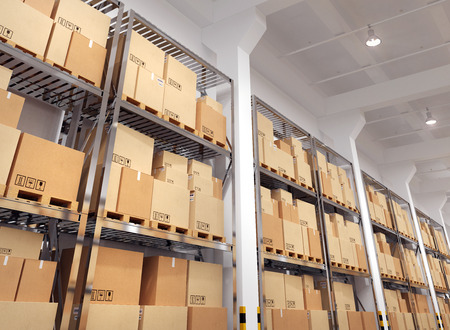 Warehouse with many racks and boxes. 3d Illustration. Stock fotó