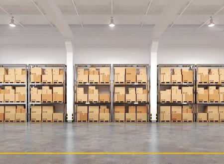 cajas de carton: Almacén con muchos bastidores y cajas. 3d ilustración.