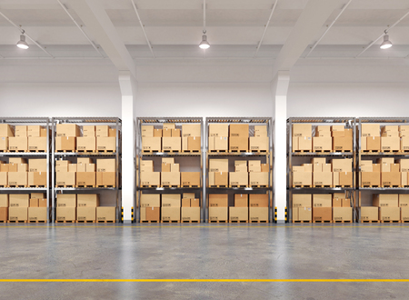 Warehouse with many racks and boxes. 3d Illustration. Banco de Imagens
