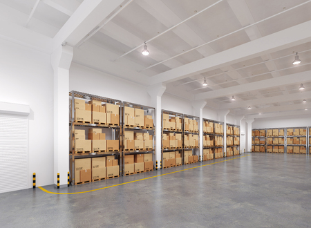 Warehouse with many racks and boxes. 3d Illustration. Stock Photo