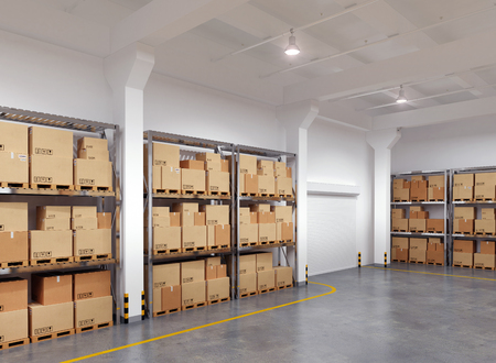 Warehouse with many racks and boxes. 3d Illustration. Stock Illustration - 48631679
