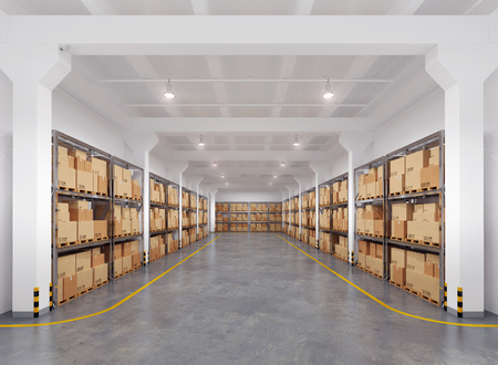 Warehouse with many racks and boxes. 3d Illustration. Archivio Fotografico