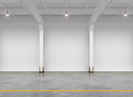 空の倉庫の内部。3 d イラスト。