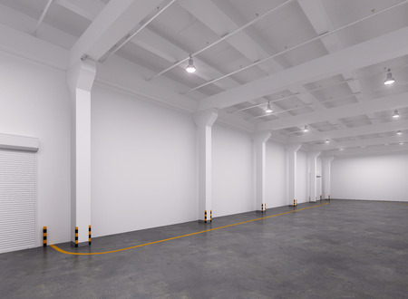 Empty warehouse interior. 3d Illustration.