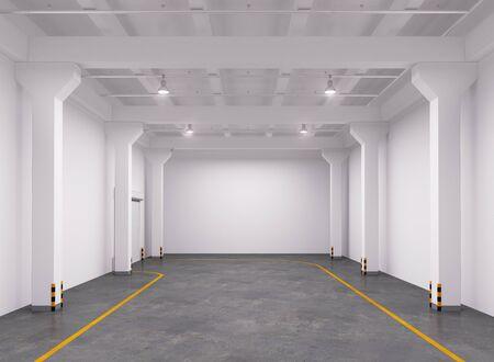 empty warehouse: Empty warehouse interior. 3d Illustration.