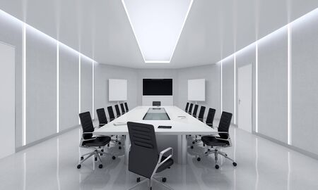 conference table: Modern Meeting Room. 3d Illustration.