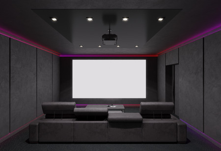 home lighting: Home Theater Interior. 3d illustration.
