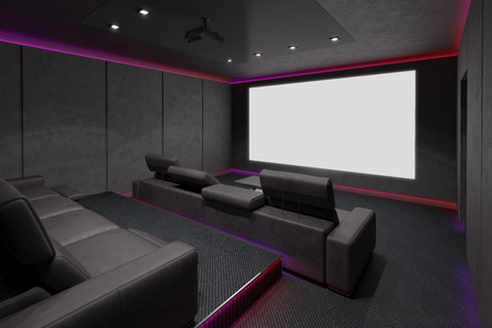 at the theater: Home Theater Interior. 3d illustration.