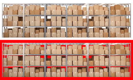 Metal racks with boxes isolated on white and red background
