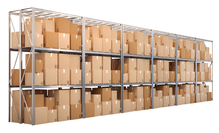 Metal racks with boxes isolated on white background Stock Photo - 48635878
