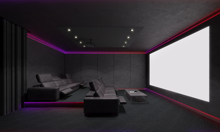 led lighting: Home Theater Interior. 3d illustration.
